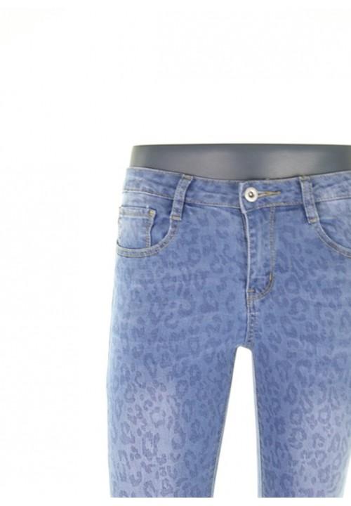 Leona Blue Leopard Denim